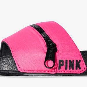 PINK BY VICTORIA SECRET SLIDES W/ZIPPER ON TOP NWT
